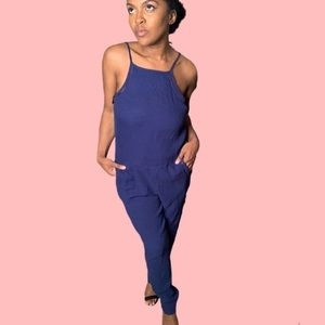 Anthropologie CLOTH & STONE | Blue Jumpsuit XS